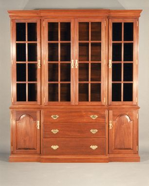 Custom Made Breakfront Mahogany China Cabinet