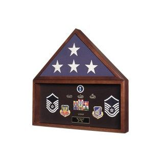 Custom Made Large Flag And Military Medals Display Case - Wall Mount