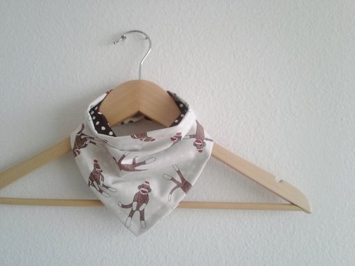 Custom Made Ivory Sock Monkey Bandana Bib, Reversible Cotton Flannel Baby Bib