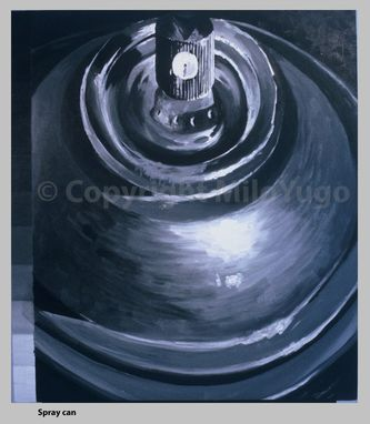 "Custom Made Acrylic Painting On Board / ""Spray Can Top"" (Monochrome Series)"