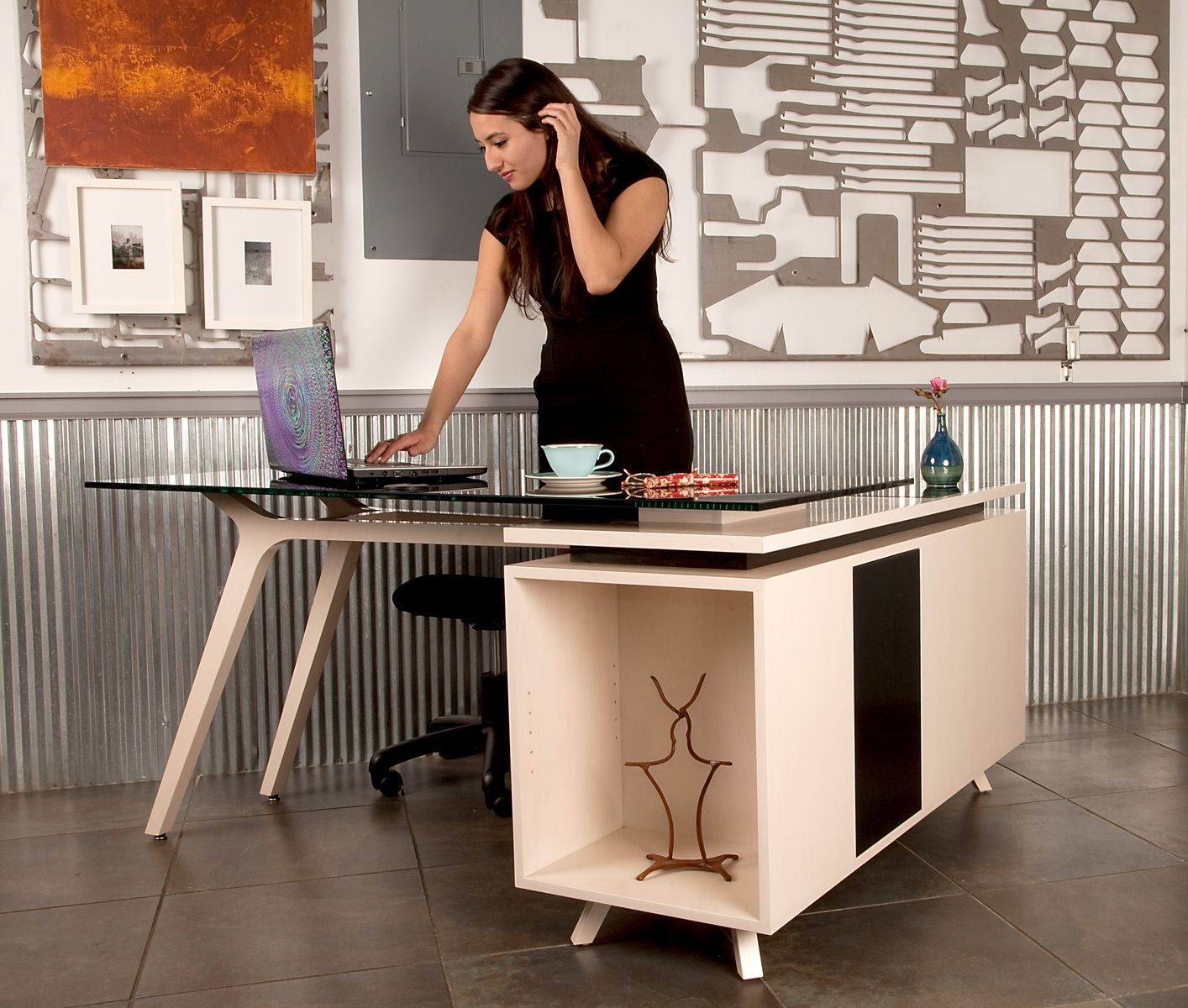 Custom Made Jen Modern Desk Credenza Glass Top