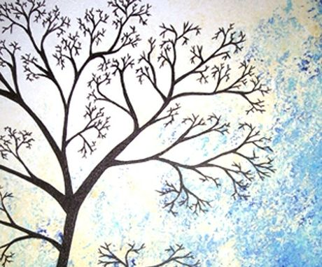 Custom Made Blue White Tree, Original Tree Painting, Abstract Contemporary Landscape, Fine Art Painting