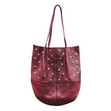 Custom Made Dark Wine Leather Shoulder Bag