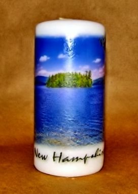 "Custom Made 6"" Pillar Candle Belle Island Newfound Lake"