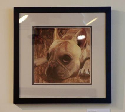 Custom Made Frenchie Print - Framed 12 X 12 - Cream Colored French Bulldog - French Bull Dog