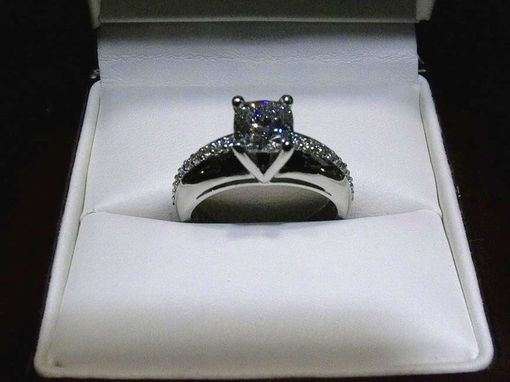 Custom Made Square Cushion Cut 1.29f/Si1 In Platinum Setting With .22ct.Tw. In Diamonds