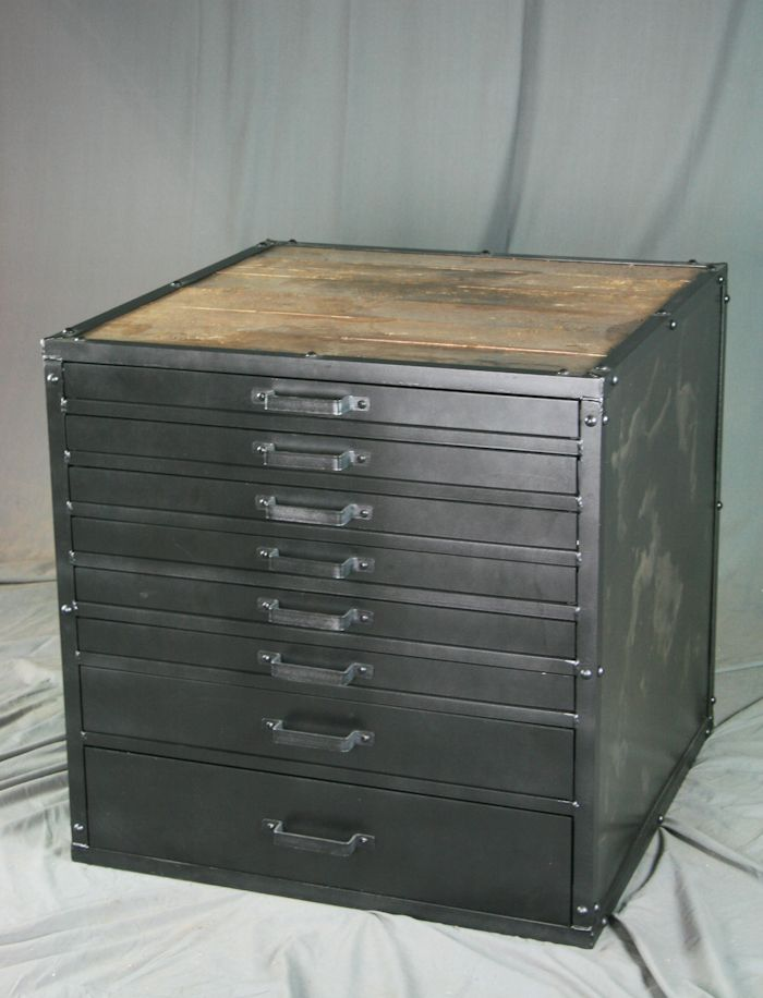 Buy a Hand Made Vintage Flat File Cabinet, Industrial Lateral ...
