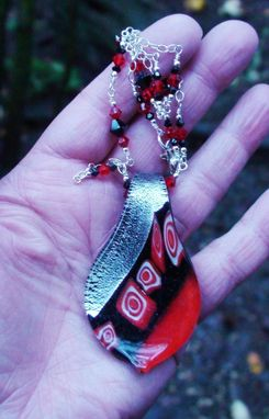Custom Made Red, Black & Silver Lampworked Glass Pendant On Swarovski Crystal