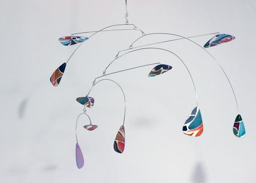 Custom Made Mobile Art Sculpture - Hand Painted Horizontal / Vertical Hanging Mobile Sculpture