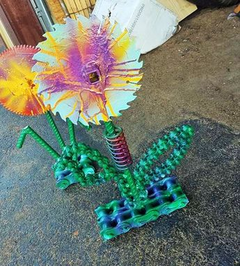 Custom Made Metal Flower Garden Art By Raymond Guest