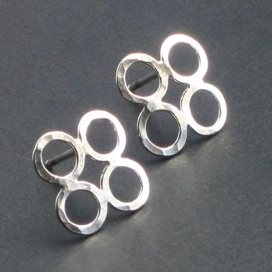 Custom Made Sterling Silver Small Clover Studs With Hammered Texture By Cristina Hurley