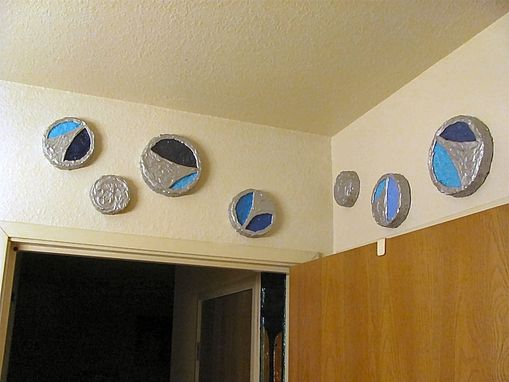 Custom Made Silver Swoop Discs Wall Art