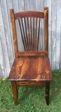 Custom Made Reclaimed Knotty Pine Rustic Spindle Back Chairs