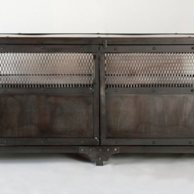 Hand Crafted Industrial Media Cabinet Tv Stand Entertainment Center Console Table Accent Bar By Real Edge Furniture Llc