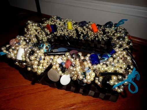 Custom Made Decorative Faux Pearl, Bambo Stick Beaded Basket