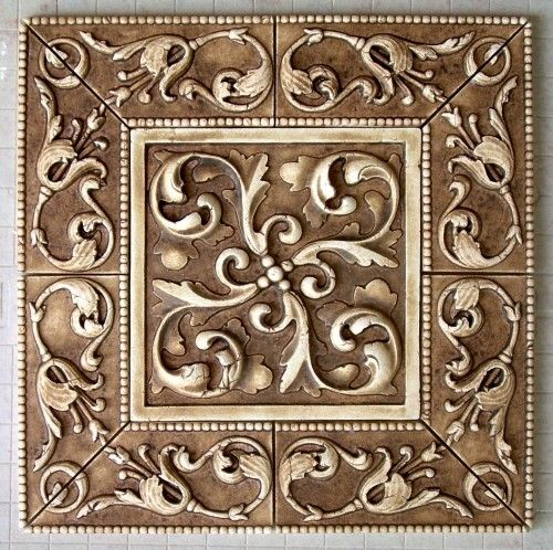 hand crafted symetrical scroll and beaded liners stone washed tile insert by anderson ceramics. Black Bedroom Furniture Sets. Home Design Ideas