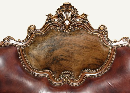 Custom Made Normandy Antique Cherry Jacquard/Leather Ornate Carved Sofa Couch W/ Pillows