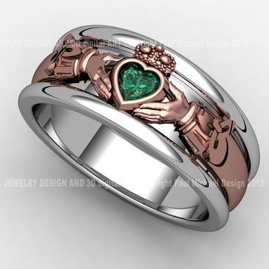 Custom Made Silver And Copper Claddagh Ring