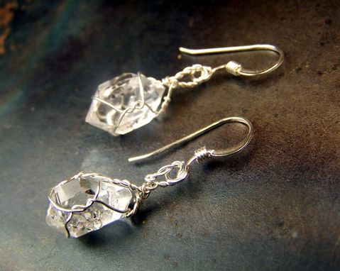Custom Made Diamond Quartz Earrings - Similar To Herkimer Diamonds - Sterling Silver French Hook Ear Wires