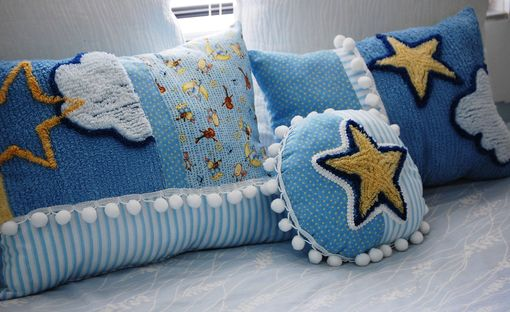 Custom Made Vintage Chenille Stars And Moon Pillow Set