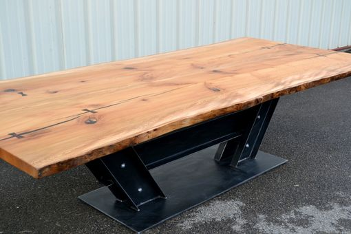 Custom Made Live Edge Sycamore Conference Table With I Beam Base