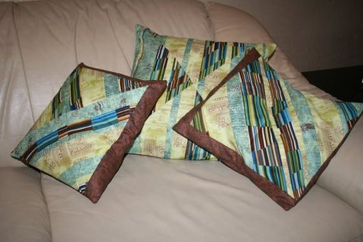 Custom Made Blue, Green, And Brown Pieced Decorative Pillows - Set Of Three