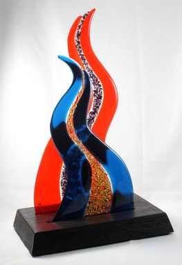 Custom Made Orange And Blue Fused Glass Sculpture With Wooden Base