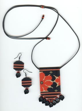 Custom Made Black And Red Abstract Floral Beaded Pendant Necklace And Earrings