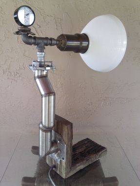 Custom Made Reclaimed Weathered Wood/Industrial/Steampunk Edison Light Table Lamp