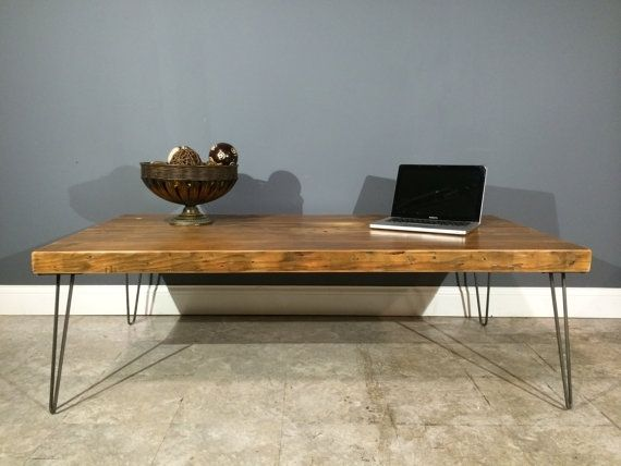 hand made reclaimed wood coffee table w/industrial hairpin legs