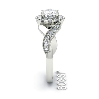 Custom Made Round Halo 14k White Gold Diamond Engagement Ring 1.25ct