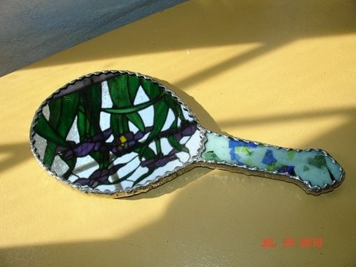 Custom Made Blue Diamond With Blue Green Stained Glass Hand Mirror