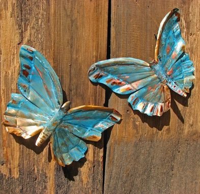 Custom Made Green Copper Butterfly Pair