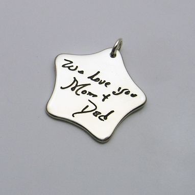 Custom Made Silver Star Pendant With Your Handwriting Or Artwork