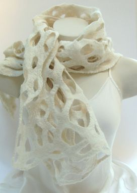 Custom Made Felt  Lace Scarf And Shawl Made Of Openwork Felted Merino Wool