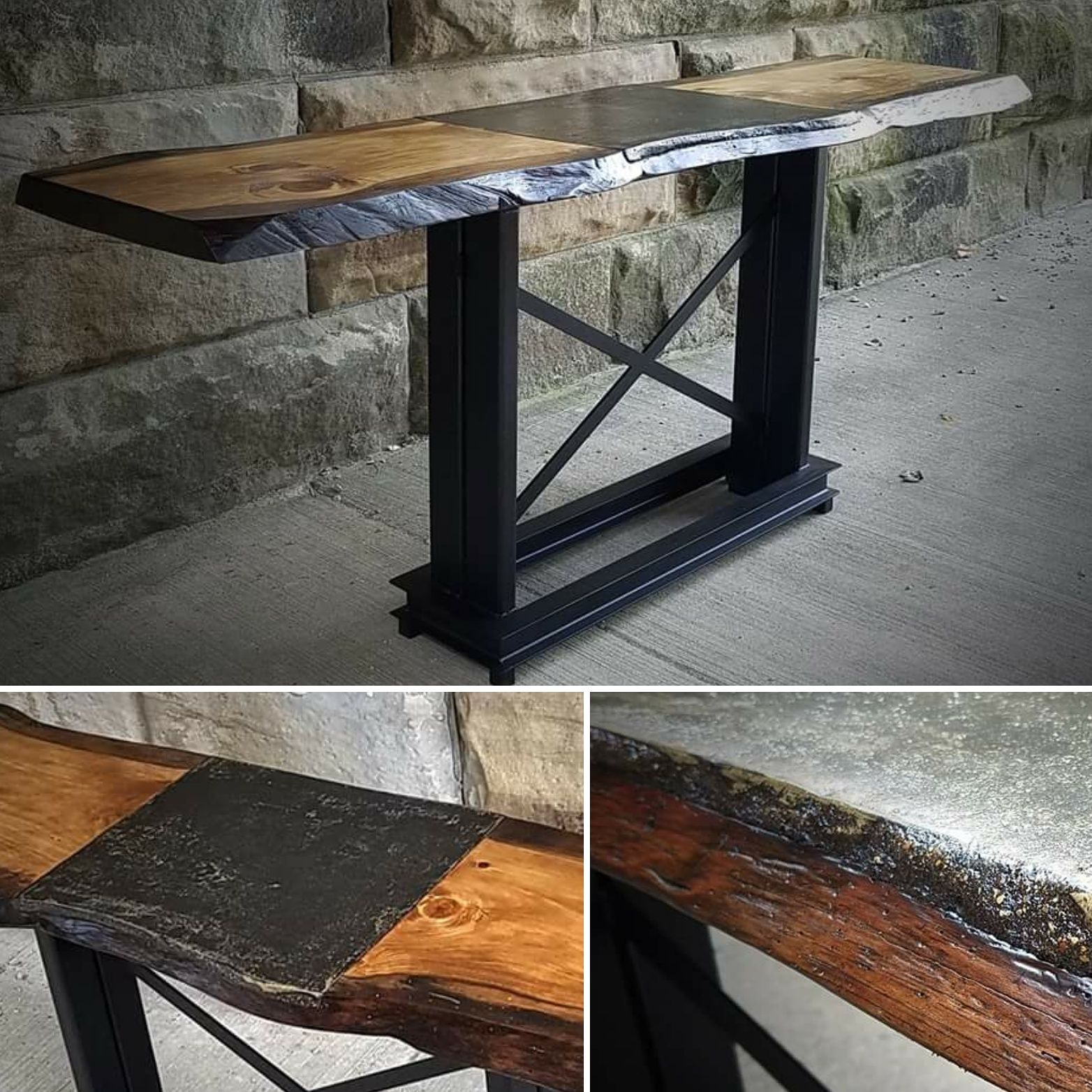 Handmade live edge with concrete insert tall top kitchen for Live edge kitchen island