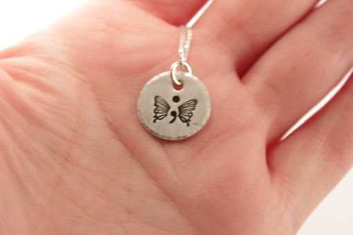 Custom Made Hand Stamped Semi Colon Butterfly Necklace