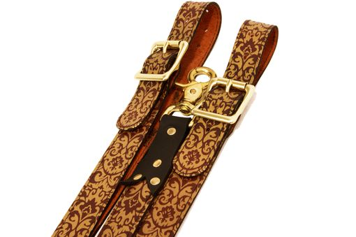 Custom Made Victorian Damask Leather Suspenders