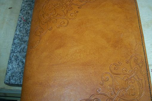 Custom Made Custom Leather Photo Album With Corner Scroll Designs
