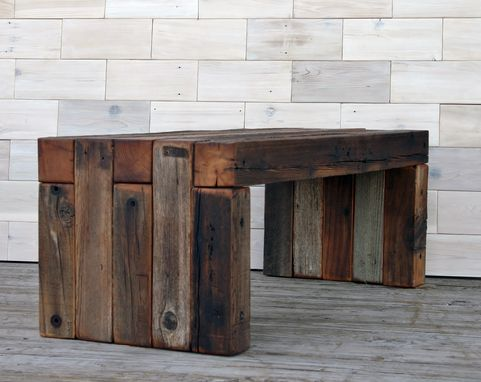 Custom Made Barn Wood Box Joint Bench