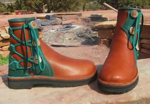 Custom Made Jack C. And His New Bull Hide Leather Work Boots.