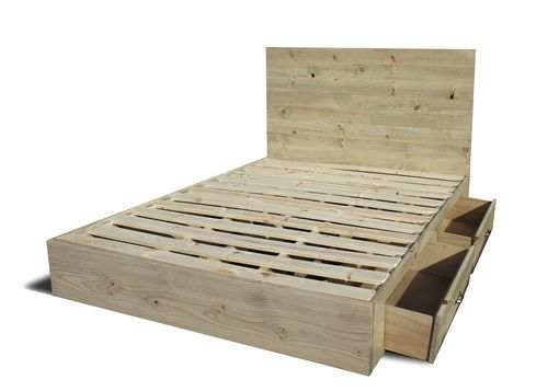 Custom Made Platform Bed Frame With Drawers And Headboard Set - Modern / Rustic
