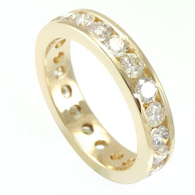 Custom Made Round Diamond Eternity Band In 14k Yellow Gold, Wedding Band, Forever Ring
