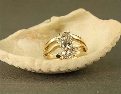 Custom Made 14ky Diamond Cluster Ring