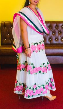 Custom Made Long Dress Georgette Fabric,Jari Emd,(Pant),Lycra,(Stole) Net Fabric Pink,Silver,Green Silk Border