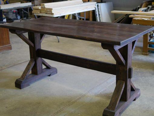 Custom Handcrafted X Frame Trestle Style Farmhouse Table