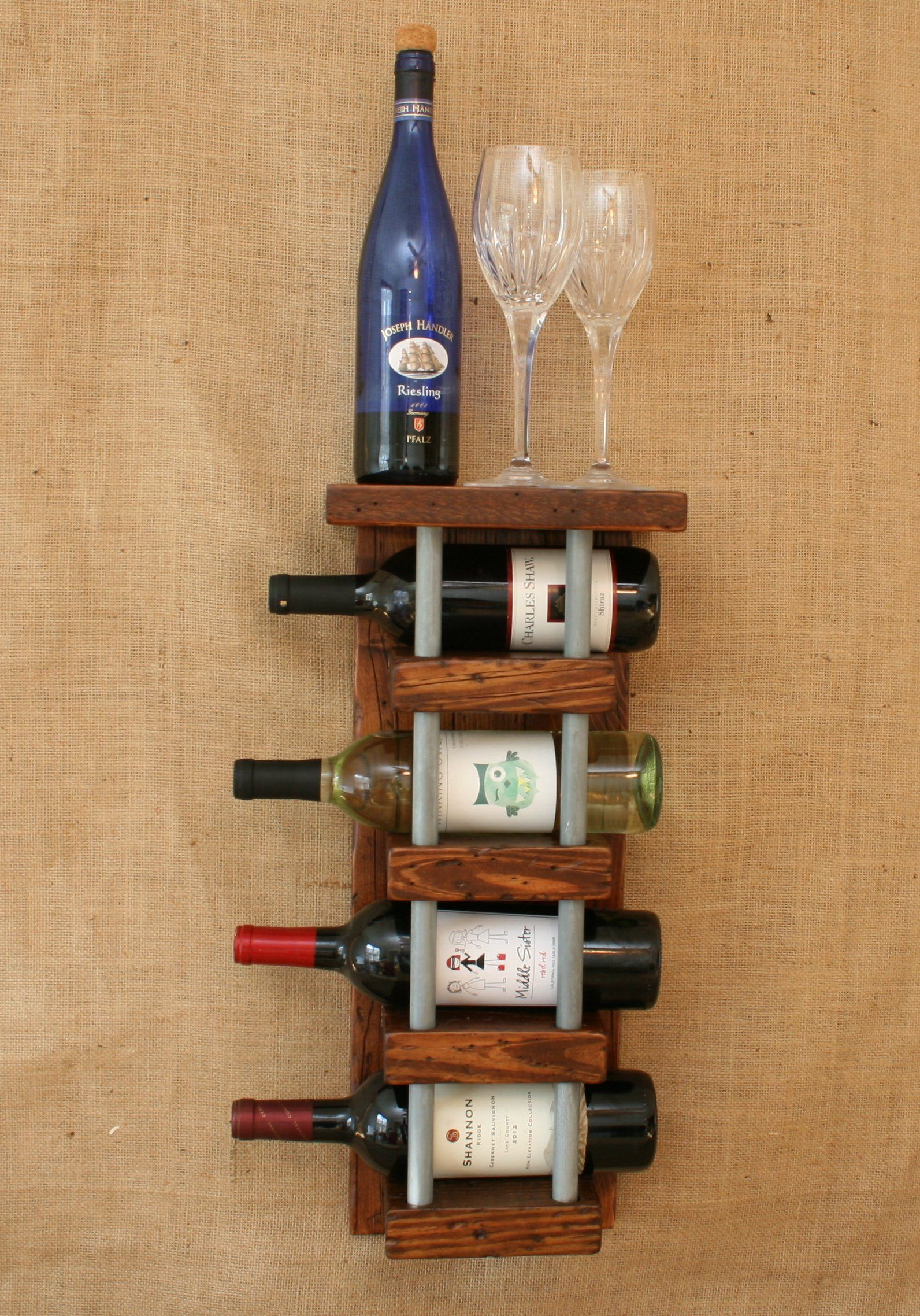 Buy A Hand Crafted Rustic 4 Bottle Wall Mount Wine Rack