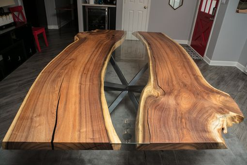 Custom Made Live Edge Dining Table, Bookmatched Mesquite W/ Glass Inlay