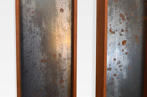Custom Made Rusted Steel And Cherry Wood Wall Art