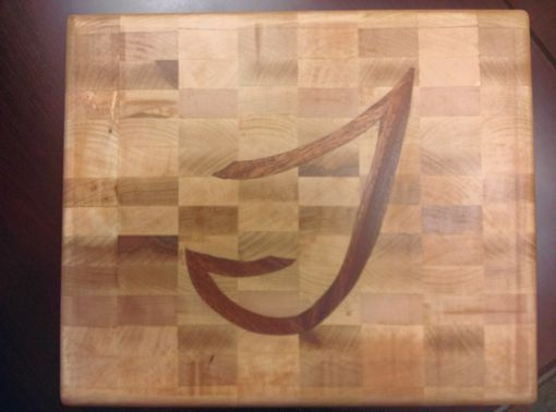 Custom Made Personalized End Grain Cutting Board With Monogram Inlay
